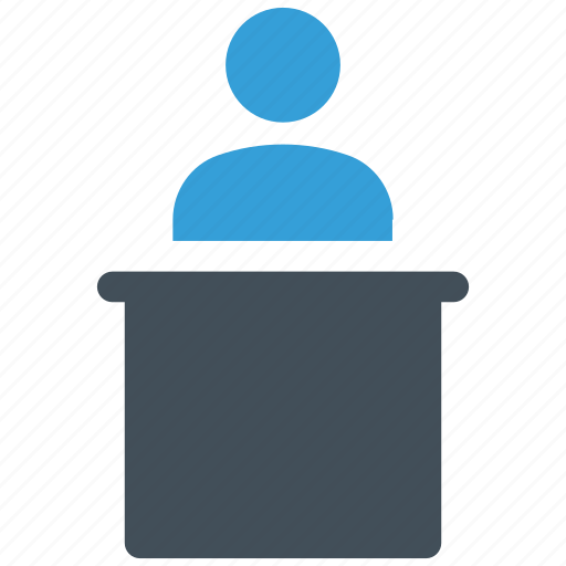 classroom table, lecture, school table, study table, table, teacher with table icon icon