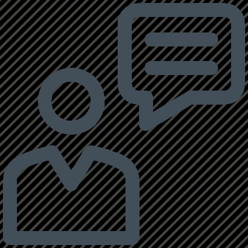 bubble, chat, comment, forum, message, messenger, opinion, social, talk, user, voice icon icon