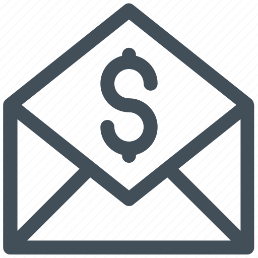 dollar, mail, online, sign icon icon