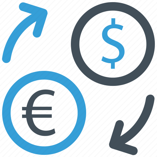 banking, coins, conversion, currency, exchange rate, finance, money icon icon