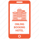 booking, communication, hotel, iphone, online hotel booking icon