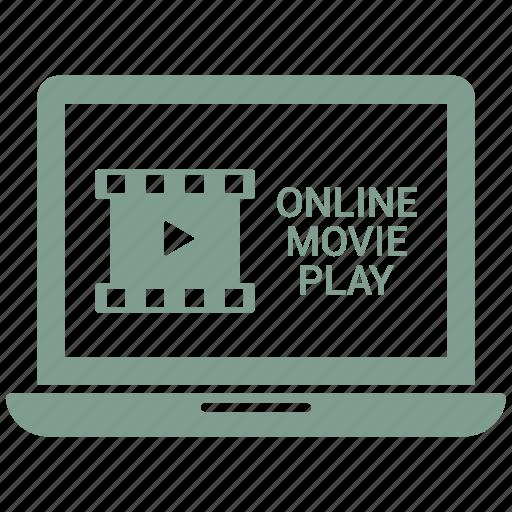apple, computer, device, laptop, macbook, online movie play icon