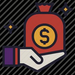 bag, bonus, give, money, prize, receive, salary icon
