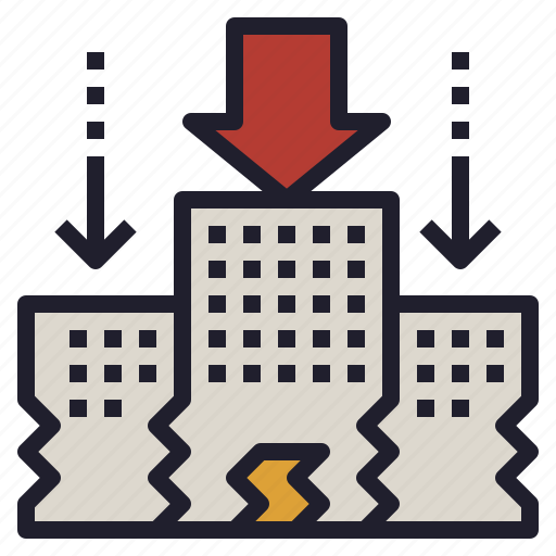 business, collapse, company, downsizing, reduce icon