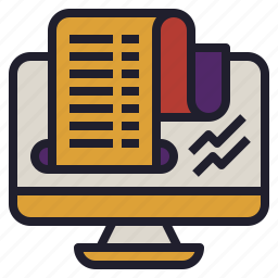 financial, print, receipt, report, stock icon