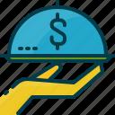 hand, income, investment, money, passive, serve, service