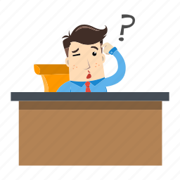 businessman, confused, employee, idea, office, table, think icon