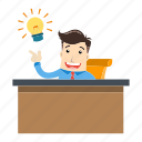 businessman, employee, idea, innovation, lamp, office, work icon