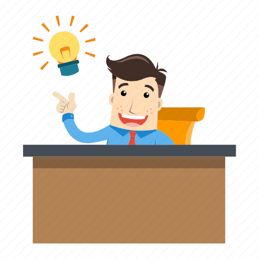 Businessman, employee, idea, innovation, lamp, office, work icon - Download on Iconfinder