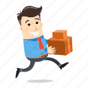 box, businessman, delivery, employee, run, send, shipping icon