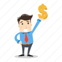businessman, dollar, employee, entrepreneur, happy, money, success icon