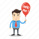 balloon, businessman, confused, employee, help, lost, sad icon