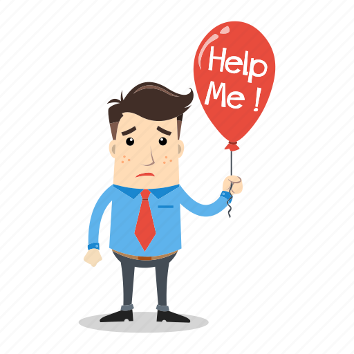 balloon, businessman, confused, employee, help, lost, sad icon