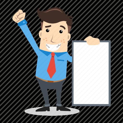 board, businessman, employee, office, presentation, sales, whiteboard icon