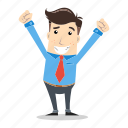 businessman, employee, entrepreneur, excited, glad, happy, success icon