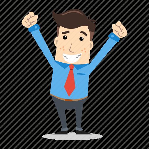 businessman, employee, entrepreneur, excited, glad, happy, success icon