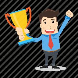 businessman, champion, employee, happy, success, successful, winner icon