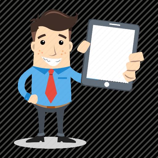 businessman, employee, mobile, presentation, sales, smile, tablet icon