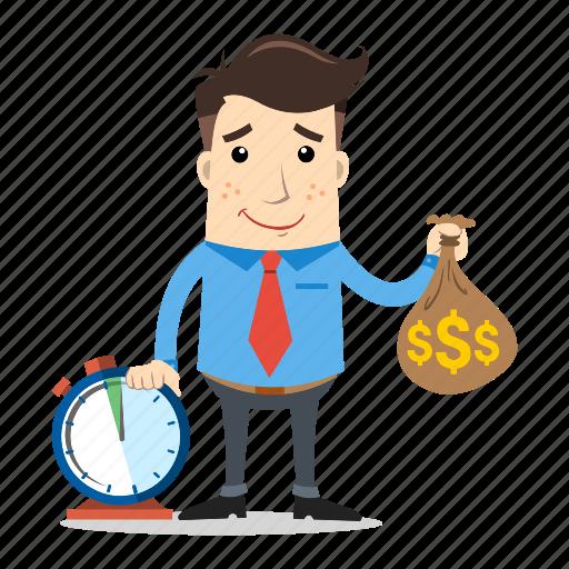 businessman, employee, entrepreneur, hard worker, money, success, time icon