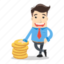 businessman, dollar, employee, future, money, savings, success icon