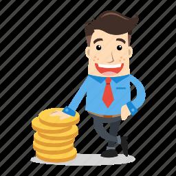 businessman, dollar, employee, future, money, savings, success icon