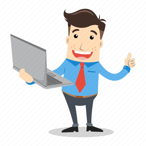 businessman, device, employee, laptop, office, presentation, smile icon