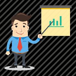 board, businessman, employee, finance, graph, office, presentation icon