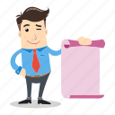 businessman, employee, list, paper, presentation, sales, smile icon