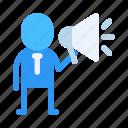 advertiser, announcer, businessman, company, entrepreneur, marketer, promoter icon