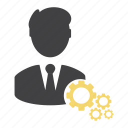 cogs, gears, man, options, person, preferences, settings icon