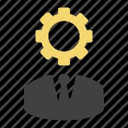 cog, gear, head gear, man, options, preferences, settings icon