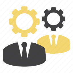 cog, gears, head gear, men, options, person, settings icon