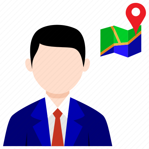 accounting, bussines, man, map, pin, world icon