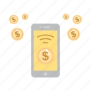 accounting, bussines, dollar, hand phone, link, signal icon