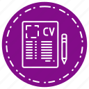 cv, document, paper, profile icon