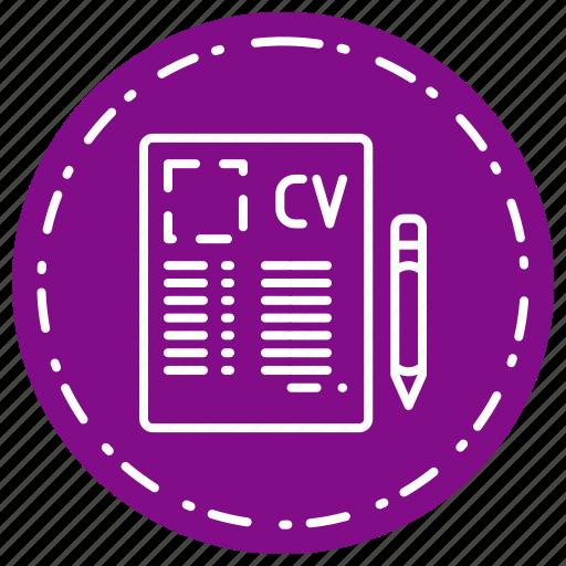 cv, document, paper, profile icon