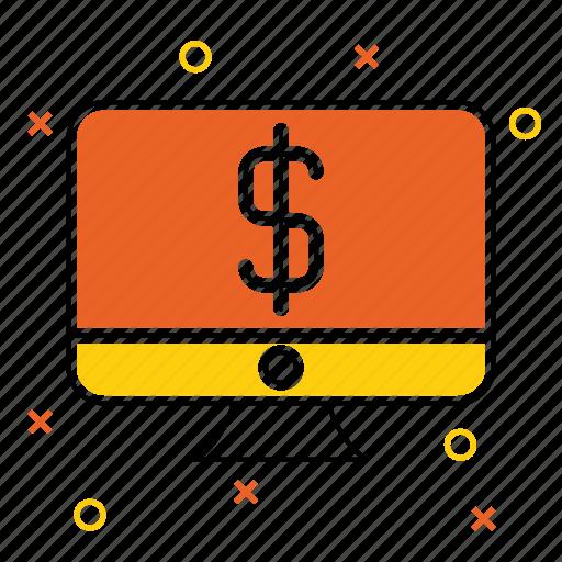 computer, device, dollar, laptop, money, monitor, pc icon