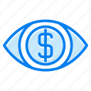 dollar, eye, money icon