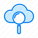 cloud, forecast, magnifier, search, see, view icon