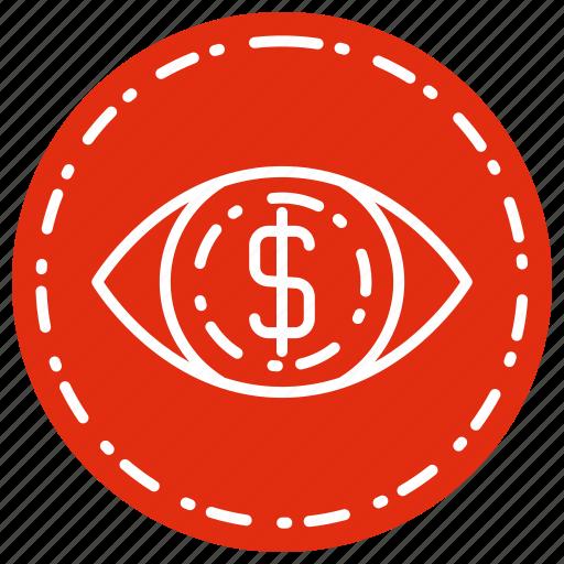 cash, currency, eye, finance, money icon