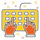 device, hands, hardware, keybord, technology, tool icon
