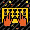device, hands, hardware, keybord, technology, tool icon