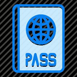 identification, identity, pass, passport, tourism, travel icon