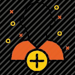 add, avatar, men, plus, profile, shape icon