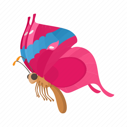 beauty, butterfly, cartoon, insect, nature, pink, wing icon