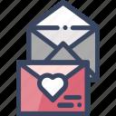 envelopes, heart, invitation, love, love letter, wedding invitation icon
