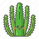 cactus, character, cute, emoji, kawaii, organ pipe, succulent icon