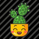 cactus, character, cute, emoji, kawaii, prickly pear, succulent icon