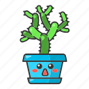 cactus, character, cholla, emoji, kawaii, succulent, teddy bear icon