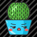 barrel, kawaii, succulent, cute, cactus, character, emoji